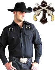 Mens western shirt, Studded Cross and Pistols Mens Black western shirt, cowboy shirt, western shirt, mens cowboy shirt, western shirt for men, cowboy shirt, blue denim western shirt