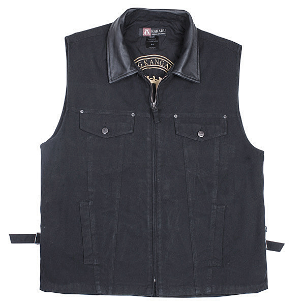 """Kelly"" Kakadu denim Canvas Concealed Carry Western Vest, gun carry vest, concealed Carry Western Vest, canvas western vest, mens western vest, western vest for men"