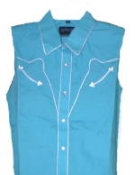 Sleeveless Turquoise retro piped western shirt