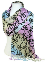 Blue and Purple Ribbon Bows Silk Scarf