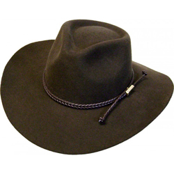 """The Cowboy"" 100% Wool Pinch Front Chocolate Brown Western Hat has the perfect rancher look with an authentic rope band"