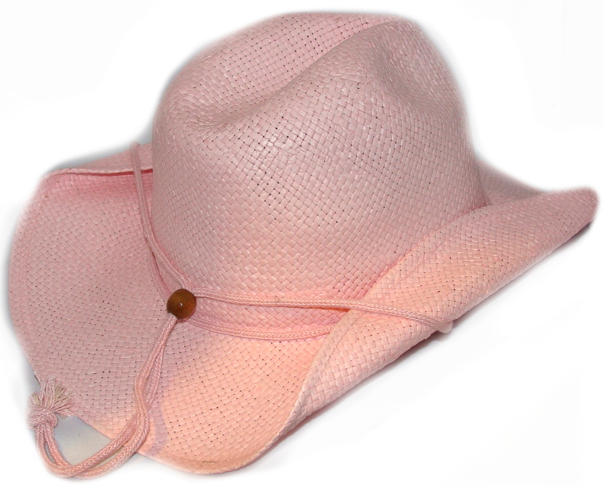 Womens Pink pinch front draw string Straw cowboy hat