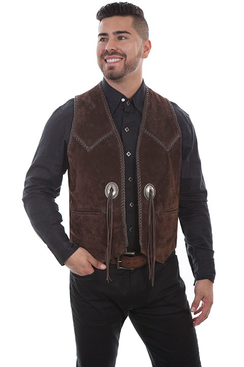 This Mens Scully Brown Suede Whip Stitch Concho Western Vest features hand laced leather whip stitch with front conchos and leather fringe on a comfortable boar suede cowboy vest with inner pockets.