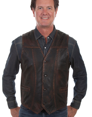 This Easy Rider Mens Scully Brown Buck Stitch leather Western vest is a vintage look for men with sanded edges and buck stitching with 4 button front closure and 2 lower welt pockets and is fully lined with an inside open pocket.