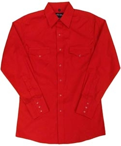 This Womens long sleeve Pearl Snap Red western shirt comes in mens and kids for matching western shirts in the horse rodeo or competition. This women's cowgirl shirt has the traditional pearl snaps.