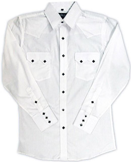 This Mens Diamond Pearl Snap White Western Shirt has the vintage style classic western pockets from the retro 50's with black diamond pearl snaps a favorite for all cowboys and western fans.
