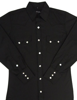 This Mens pearl snap Sawtooth pocket black western shirt has the vintage style classic western pockets from the retro 50's with white diamond pearl snaps a favorite for all cowboys and western fans.