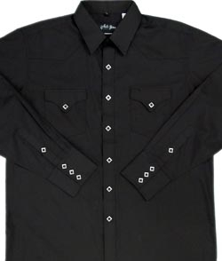 This Mens Diamond Pearl Snap Black Western Shirt has the vintage style classic western pockets from the retro 50's with matching red diamond pearl snaps a favorite for all cowboys and western fans.