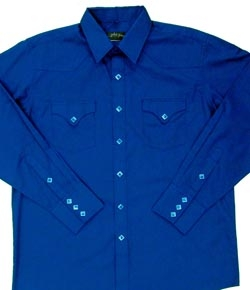 This Mens Diamond Pearl Snap Royal Blue Western Shirt has the vintage style classic western pockets from the retro 50's with diamond pearl snaps a favorite for all cowboys and western fans.