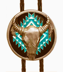 This Buffalo Skull Turquoise Indian Bolo Tie shows your love of the native american southwestern style with the longhorn skull center and turquoise Aztec design on a black bolo string great on a cowboy shirt