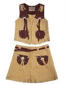 """Girls Rodeo"" Camel Suede Kids Western Vest Skirt Set, kids western vests, kids western skirts, kids suede western skirt, kids western skirt vests, girls western skirts, kids western apparel"