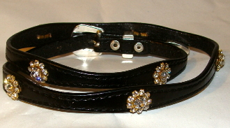 This Black leather WHITE Crystal Flower hat band with Silver buckle is hand made in the USA with real rhinestones that are silver plated fastenings with a sterling silver belt buckle closure a great western hat band for cowboys or cowgirls.