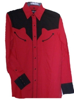 Men S Two Tone Red And Black Retro Piped Western Shirt