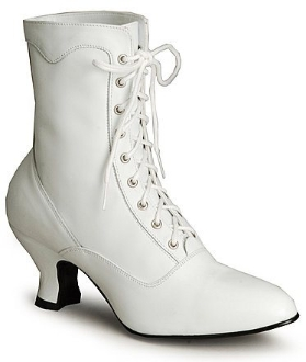 SIZE 6.5 TO 7 Veil white leather lace up granny boots