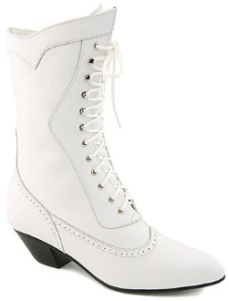 Steeple white leather granny wedding boots