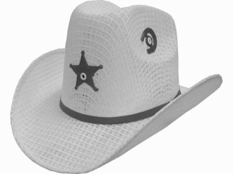 952010c0634 Toddler Tight-weave White Cowboy Hat with Start w Elastic