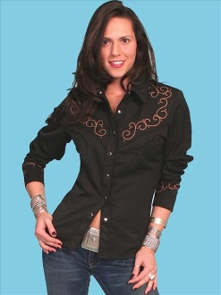 Scully ladies cross studded black western shirt, scully womens shirt
