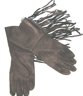 Deerskin Leather Brown Western Fringe Gloves Usa Made