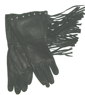 Deerskin Leather Black Fringe Rhinestone Gloves Usa
