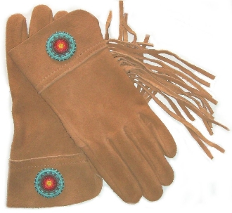Native Beaded Deerskin Suede Western Fringe Gloves Usa Made