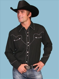 This Mens Scully Rockabilly White piped black Western Shirt is a retro throwback vintage cowboy shirt with the smiley pockets and diamond pearl snaps in a classic twisted piping made to last forever.