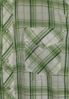 Mens Short Sleeve Green plaid western shirt