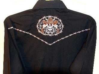 "This Mens ""Ghost Lawmaker"" Black skull western shirt has an embroidered back and top yokes with barbed wire surrounding a ghostly cowboy with red jeweled eyes and pistols with more barbed wire retro piping"