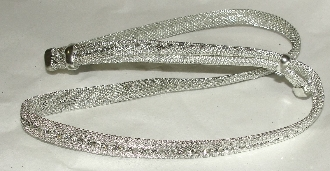 "The ""Silver Screen"" S/S Mesh with Austrian Crystals hat band is hand made in the USA with genuine rhinestones also is Sterling Silver plated that really adds style to any cowboy or cowgirl hat a great rodeo show stopper."