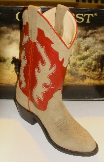 Youth SIZE 4.5 Red shaft, Roughout leather cowboy boots