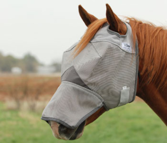 The Cashel Long Nose UV Horse Fly Mask for fly protection for the horse against the rays of the sun with a 70% UV protection can be worn all day and night while out in the stable barn stalls or pasture.