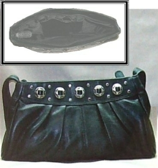 Silver concho accented black leather western purse by Abilene