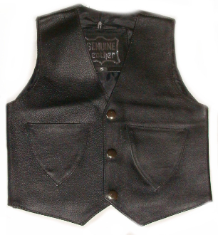 Infant Baby Toddler Black Leather Western Vest