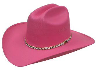 Kids Canvas Straw Cattleman Style Hot Pink Cowboy hat 2324c351b65