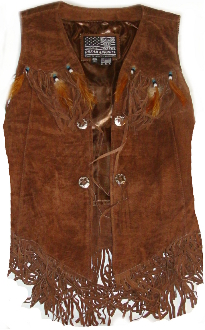 This Indian style feathered brown suede fringe vest has western fringe with native beads and real bird feathers hanging from the beaded conchos that looks great on women or kids.