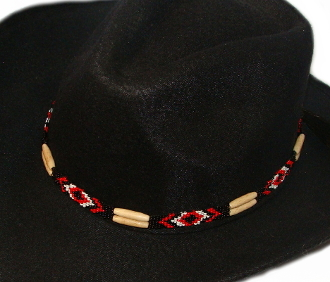 "This ""Navajo Red"" Horse hair natural bone hat band is hand made in the USA with genuine horse hair tassels closure with turquoise black and rust beads for all cowboys and cowgirls."