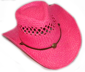 This Kids HOT PINK Vented Raffa Straw cowgirl hat comes with a Draw string and a cool cowgirl look with a light weight straw hat easy to take on a trip or wear to a country music concert