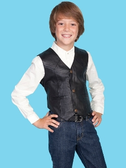 This Scully Kids Black Lambskin leather Cowboy vest is just like dads and grandpas cowboy vest with lambskin leather perfect for a western wedding or special country outing.
