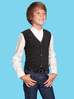 This Scully Kids Black Boar Suede Western vest is perfect for a western wedding and matches the mens same boar suede vest just like dads and grandpas cowboy vest.