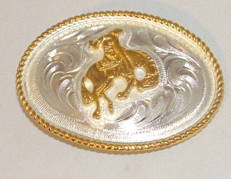 Kids German Silver Bucking Bronco belt buckle