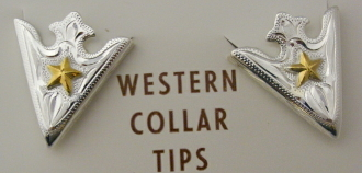 Quot Western Star Quot Silver Gold Star Shirt Collar Tips