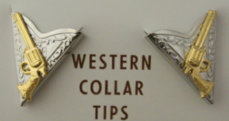 These Silver and Gold Gun collar tips have gold plated western guns set on a silver plated collar tip which is a great way to dress up your cowgirl or cowboy shirt.