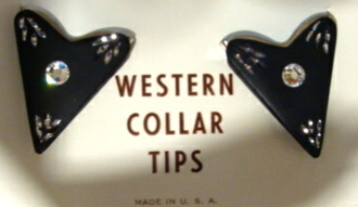 These Black Rhinestone western Shirt collar tips have rhinestone accents set on silver great to dress up your cowgirl or cowboy shirt matching boot tips sold separate.
