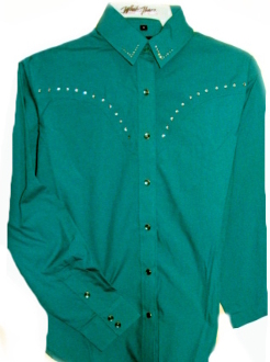 This Ladies forest green rhinestone western shirt is a great way to sparkle in the parade or western horse show or even on the dance floor in the cowboy barn.