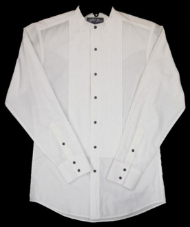 Mens white western banded collar tuxedo shirt for Mens big and tall banded collar shirts