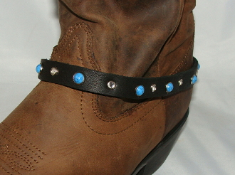 Black Leather rhinestone studded turquoise Cowboy boot bracelet, Cowboy boot chains, Cowboy boot tips and heels, boot bracelets, leather boot chains, western boot chains, cowboy boot harness, cowboy boot jewelry