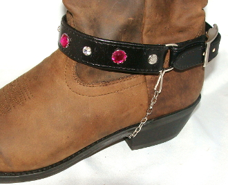 Black Leather Pink rhinestone studded Cowboy boot chain, Cowboy boot chains, Cowboy boot tips and heels, boot bracelets, leather boot chains, western boot chains, cowboy boot harness, cowboy boot jewelry