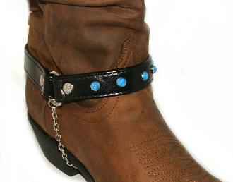 Pair Black Leather Turquoise Cowboy Boot Chain Usa