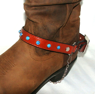 Brown Leather turquoise studded Cowboy boot chain, Cowboy boot chains, Cowboy boot tips and heels, boot bracelets, leather boot chains, western boot chains, cowboy boot harness, cowboy boot jewelry