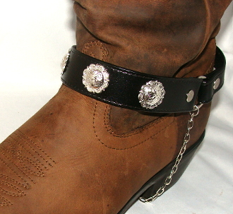 PAIR- Black Leather silver concho cowboy boot chain , Cowboy boot chains, Cowboy boot tips and heels, boot bracelets, leather boot chains, western boot chains, cowboy boot harness, cowboy boot jewelry