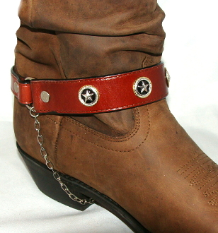 PAIR- Brown Leather western star cowboy boot chain - USA, Cowboy boot chains, Cowboy boot tips and heels, boot bracelets, leather boot chains, western boot chains, cowboy boot harness, cowboy boot jewelry